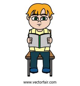 color boy sitting chair and reading a book
