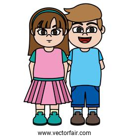 color nice girl and boy children friends