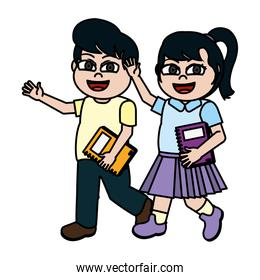 color nice girl and boy children with book utensil