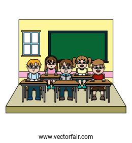 color nice students children in the blackboard and classroom