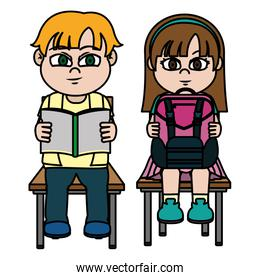 color boy and gril sitting chair with utensils