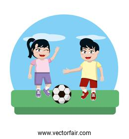 girl and boy playing sprot soccer