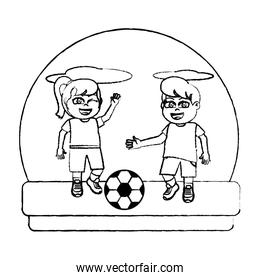 grunge girl and boy playing sprot soccer