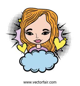 color woman with hearts symbol and fluffy cloud