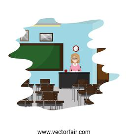 education teacher in the desk to knowledge study