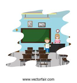 teacher and student with good test in the classroom