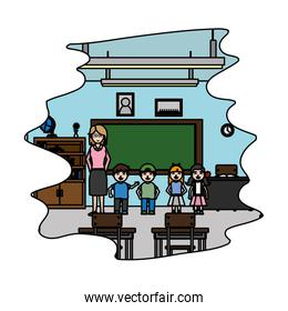 color children with teacher in the school classroom education