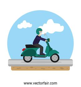 man riding motorcycle transport in the road