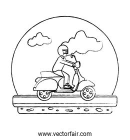 grunge man riding motorcycle transport in the road