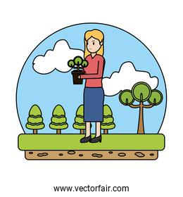 color ecology woman planting trees in the landscape