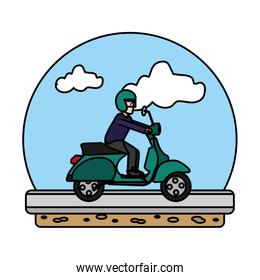 color man riding motorcycle transport in the road