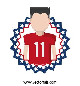football player with usa tag patriotic nation