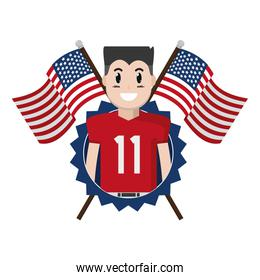football player with patriotic usa flags and emblem