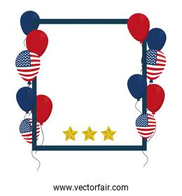 patriotic usa frame with balloons and stars