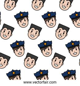color happy policeman and man heads background