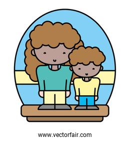 color woman with her son together and casual clothes