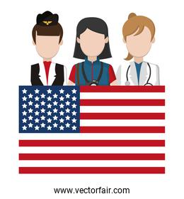 professional women with usa flag patriotic