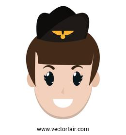 stewardess woman head with hat and hairstyle