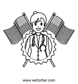 line woman doctor with usa flag and emblem