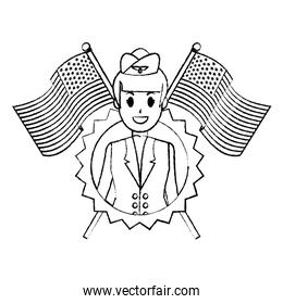 grunge stewardess with usa flags and nation emblem