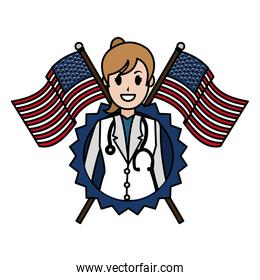 color woman doctor with usa flag and emblem