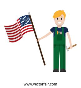 mechanic service with hammer and usa flag