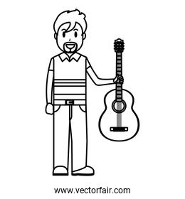 line happy musician with guitar instrument in the hand