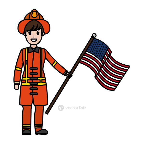 color firefighter with uniform and usa flag nation