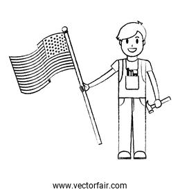 grunge mechanic service with hammer and usa flag