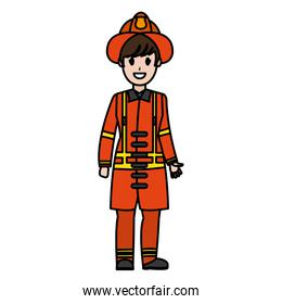 color firefighter with uniform equipment and emergency protection