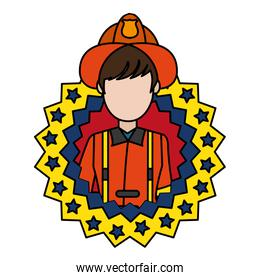 color firefighter with uniform and usa emblem nation