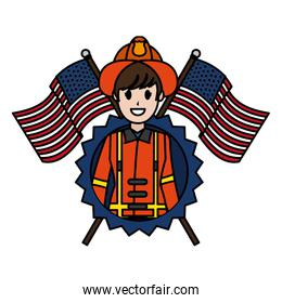 color firefighter with usa flags and nation emblem