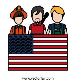 color professional people careers with usa flag