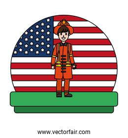 color firefighter with uniform and usa nation flag