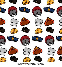 color professional hats and helmets work background