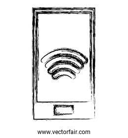 grunge smartphone technology with wifi device connection