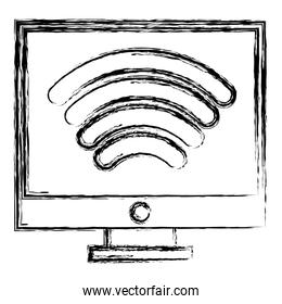 grunge electronic computer with wifi device connection