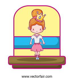 beauty ballerina girl with crown and special clothes