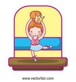 ballerina girl dancing with crown and hairstyle