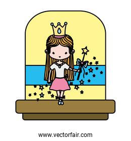 color ballerina girl with crown and magic wand