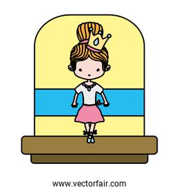 color beauty ballerina girl with crown and special clothes