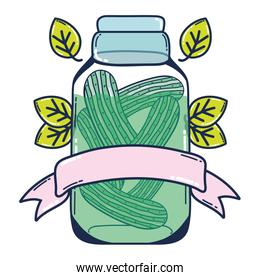 healthy cucumber juice in the jar and ribbon