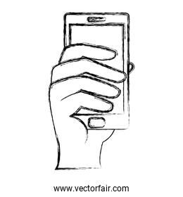 grunge hand with electronic smartphone digital technology