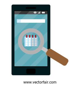 smartphone technology with magnifying glass and calendar
