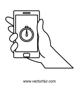 line hand with smartphone technology and chronometer app