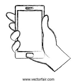 grunge hand with electronic smartphone technology style
