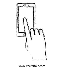 grunge finger tap the electronic screen martphone technology