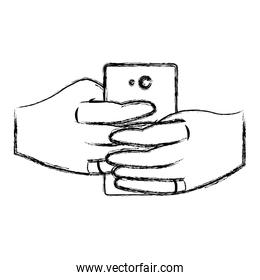 grunge hand with smartphone techology take a picture with camera