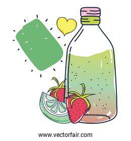 starwberries and cucumber juice in the jar with heart