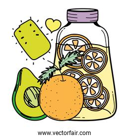 color avocado and orange juice in the jar with heart